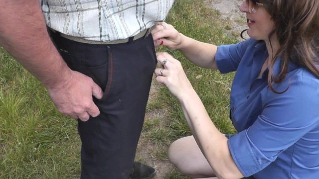 Man Pisses Woman Holds Hands His Dick Close-Up Dubarry -8039