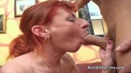 Older amateur ginger haired lady fucks husbands friend