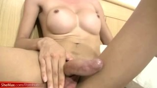 Two hot ladyboys reveal big boobs and hairy asshole and cock