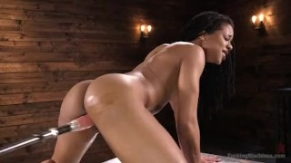 Athletic Ebony Sex-Kitten Kira Noir Gets an Anal Machine Fucking With Giant