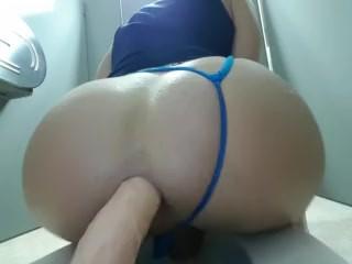 Work bathroom riding my dildo