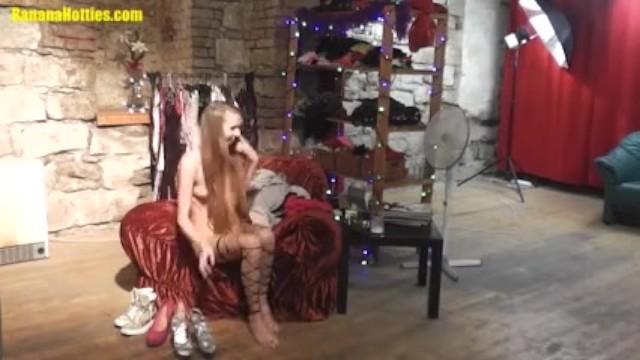 Skinny blonde wears just stockings 2