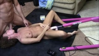 Wife sucks dick while getting machine fucked then gets fucked by real cock