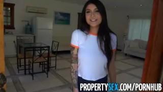 PropertySex Hot Asian tenant with big tits fucks her landlord