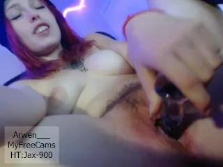 Red Head Arwen Fucks Herself Glass Dildo Wet Close Ups