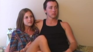 Screen Capture of Video Titled: Retro teen couple trio with old pervert POV