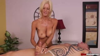 Blonde lady domination handjob