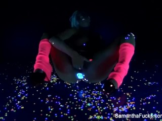 Blacklight masturbation with super hot Samantha Saint