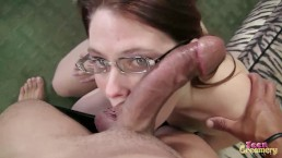 Barely Legal Little Teen Takes on Huge Dick and Gets Face Full of CUM