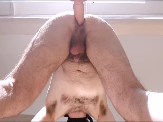 Straight hairy guy fucked hard by huge cock in the sun- ass wants real cock