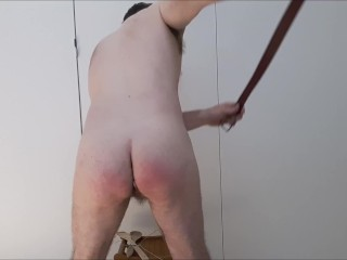 Spanked first time leather belt wood metal ends...