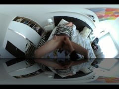 Cute teen enjoys fingering and sensual orgasm creampie VR