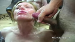 Guys use Hollys face for cum shooting practise after they fuck her