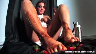 Sticky sweet food play with naturally busty Natasha Nice