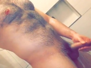 Showering my beefy hairy Latino body and playing with my big cock!