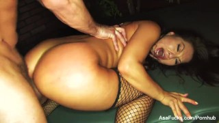 Asian hottie Asa Akira teases and takes it in the ass