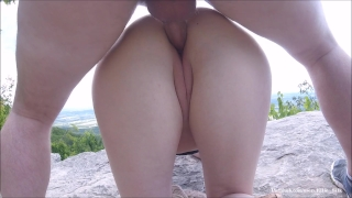 double naked outdoors on public trail and music