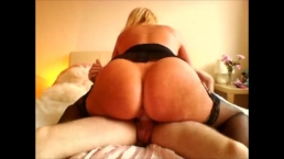 Huge round ass rides the cock