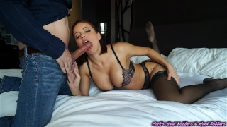 Escort gets plowed, client empties his nuts on her face...and the wall Ass huge
