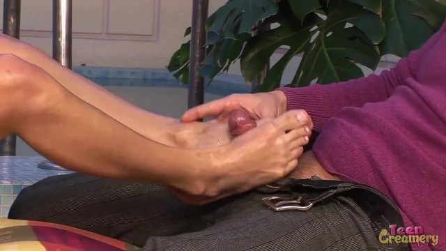 Petite Barely Legal Blonde Gets Amazing Foot Job to Huge Cock 18