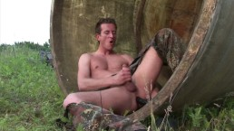 Horny army guy fucks his ass with a big dildo