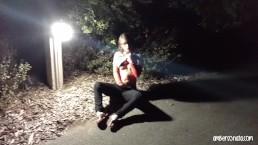 Nightime Fingering On Public Park Pathway