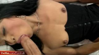Tiny cock ladyboy stuffs her mouth with shaft and toys anal Toys dildo