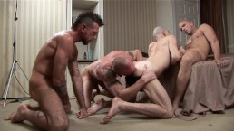 TREASURE ISLAND - Sloppy Bareback Foursome Ends With Double Anal