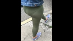 Green see through bodysuit public wife