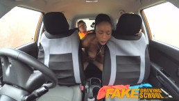 Fake Driving School pretty petite black girl with nice natural tits