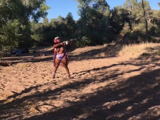 Camping 4th of july outdoor scenic topless shooting...