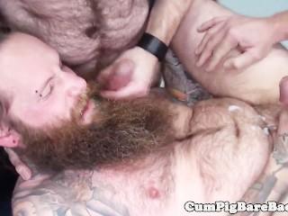 Hairy hippie barebacked and jizzed
