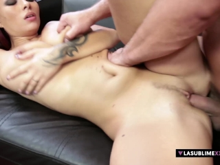 Fabulous tits fuck by redhead babe Domino!