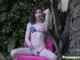Pretty bikini tgirl stroking her cock outdoor