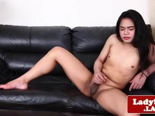 Smalltitted asian tranny pulling cock solo