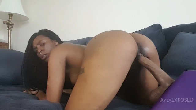Table mounted dildo Ayla - home alone with bbc dildo