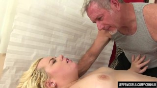 Blonde sex fatty massage eating oiled