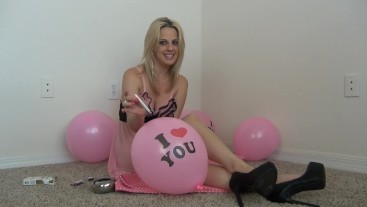 Roxie Rae Smoking & Balloon Popping Tease in Lingerie