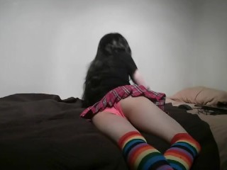 Trap Crossdress In Rainbow Thigh High Socks