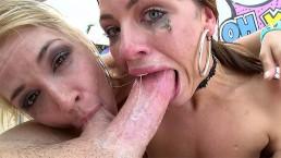 SWALLOWED Adriana and Sarah sloppy deepthroat blowjob