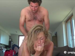 Fuck on coffee table & Big Facial