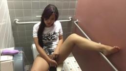 Cute asian girl cums in school bathroom