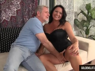 Grandma takes fat dick