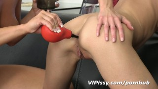 Blonde babe gets woken up with golden showers before enjoying anal sex toy