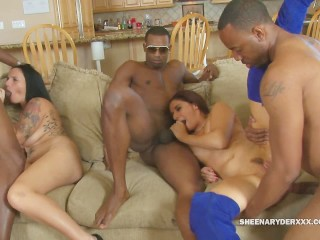Sheena Ryder has a BBC Orgy with her Girlfriends