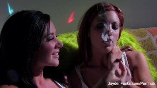 The two Jaydens smoke and have some lesbian fun together