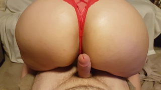 SEXY BOOTY POV ASSJOB, OILED BIG ASS IN RED THONG GRINDS AND SHAKES ON COCK Footjob big