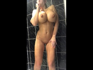 Shower time come and soap my 34jj tits...