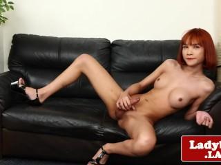 Redhead ladyboy pulling cock solo...