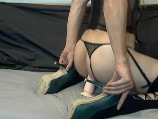 Hot Bellatrix riding dildo